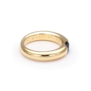 Cartier Ellipse Oval Sapphire 18k YGold Dome Band Ring Size 51 -US 5.75