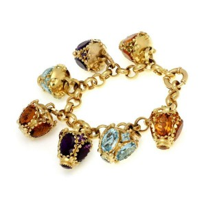 Estate Large Multicolor Gems 18k Yellow Gold 7 Fob Charms Chain Bracelet