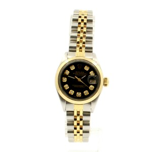 ROLEX Oyster Perpetual 18k & Stainless Datejust 26mm Black Dial Diamond Watch