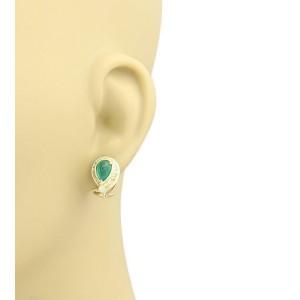 David Webb 3.90ct Emerald Sapphire & Diamond 18k YGold Post Clip Earrings