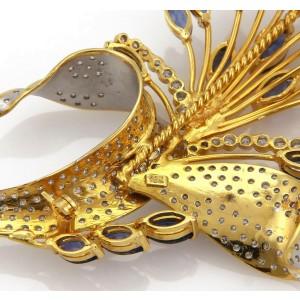 Estate 13 Carats Diamond & Sapphire 18k Gold Large Floral Sprig Brooch
