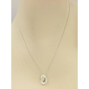 Tiffany & Co. Vintage Sterling 18k Yellow Gold Love Knot Pendant & Chain