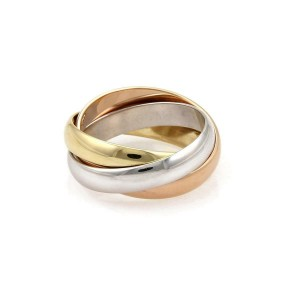 Cartier Trinity 18k Tricolor Gold 3mm Rolling Band Ring Size EU 46 US 3.75