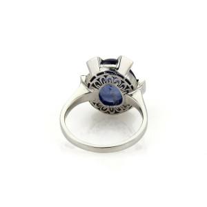 Vintage 9 ct  Sapphire & Rose Cut Diamond 14k White Gold Cocktail Ring Size 7