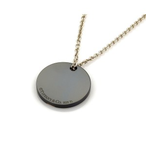 Tiffany & Co. Titanium Sterling Silver Round Disc Pendant & Chain Necklace