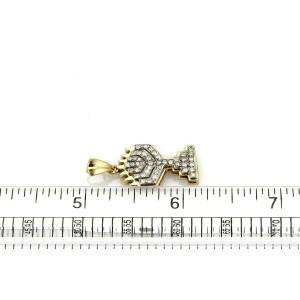 Vintage Diamond 14k Yellow & White Gold Menorah Candelabrum Pendant