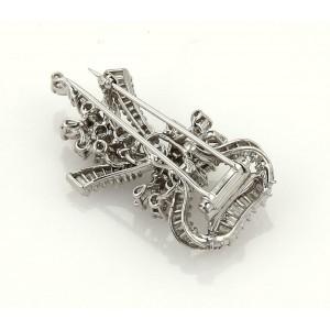 Estate 4.75ct Diamond & Platinum Floral Ribbon Bouquet Brooch Pin
