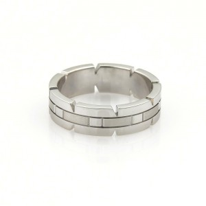 Cartier Tank Francaise 18k White Gold 6mm Band Ring Size EU 58-US 8.25
