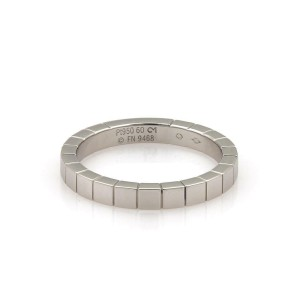 Cartier LANIERES 18k Platinum Cube Style Band Ring Size 60-US 9