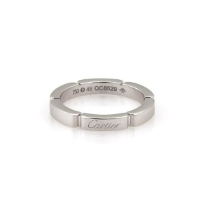 Cartier Maillon Panthere 18k White Gold 1 Row Band Ring Size 48-US 4.5 Cert