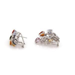 Estate 19.30 Carat tMulticolor Sapphire & Diamond 18k Gold Earrings & Ring Set