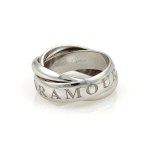 Cartier AMOUR ET TRINITY 18k White Gold Wide Rolling Band Ring Size 52-US 6