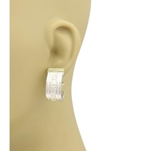 Tiffany & Co. ATLAS Numeral Sterling 18k Yellow Gold Post Clip Earrings
