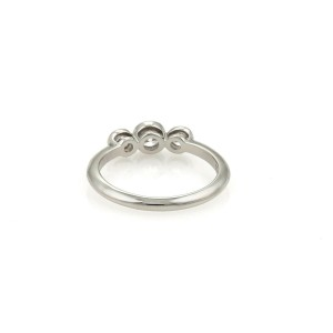 Tiffany & Co. 3 Diamond Platinum Wedding Knife Edge Band Ring Size - 4
