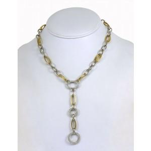 "Estate 1.00ct Diamond 14k Yellow Gold Lariat Chain Fancy Necklace 15.25"" Long"