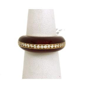 New Alessandro Fanfani Diamond & Enamel 18k Yellow Gold Band Ring Size 7