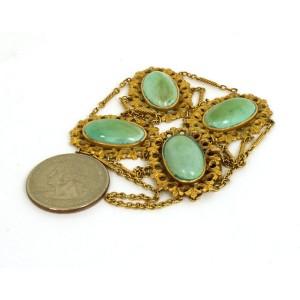 Victorian  9K Yellow Gold & Turquoise Triple Chain Link Fancy Design Bracelet