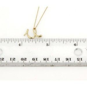 "Tiffany & Co. Elsa Peretti 18K Yellow Gold Initial Letter ""U"" Pendant Necklace"