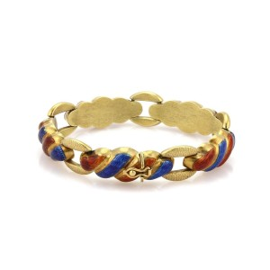 18kt Yellow Gold Fancy Swirl Shell Link Design Red & Blue Enamel Bracelet
