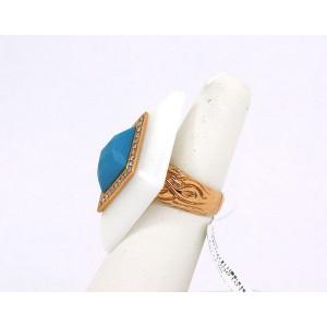New Diamond Turquoise & White Onyx 18k Yellow Gold Diamond Shape Ring Size 6.25