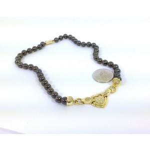 18k Yellow Gold Diamond & Hematite Beaded Heart Motif Necklace