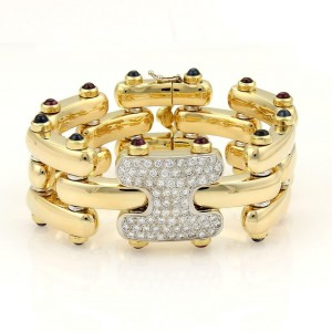 Estate 9.95ct Diamonds Sapphire & Pink Tourmaline Bar Link Bracelet in 18k YGold