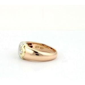 Bulgari Bvlgari Parentesi 8mm Wide Band Ring in 18k Tri-Color Gold Size 5.75