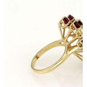 Stunning 5.50ct Diamonds & Rubies 18k Yellow Gold Cluster Ring