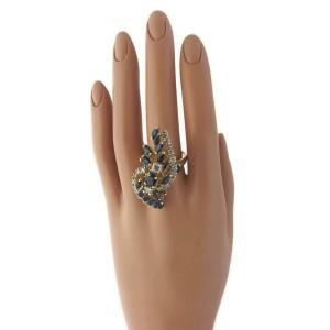 Beautiful 4.00ct Diamond & Sapphire 14k Yellow Gold Long Cocktail Ring