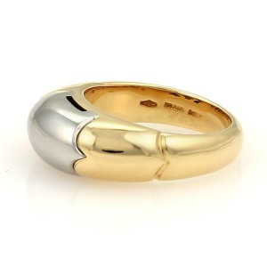 Bulgari Bvlgari Tronchetto 18k Yellow Gold & Steel Band Ring Size 5.5