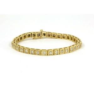 4.00ct Diamond 14k Yellow Gold Box Link Tennis Bracelet
