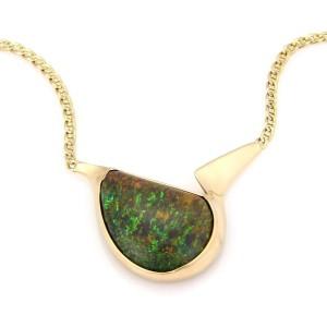 Estate 14kt Y/Gold 25.00Ct Black Opal Pendant & Flat Anchor Link Chain Necklace