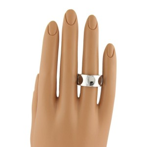 Louis Vuitton Impreinte 18k White Gold 10mm Wide Band Ring Size EU 52-US 6.5