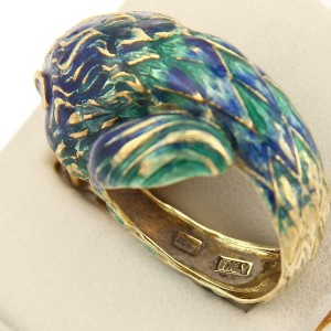 Vintage 18kt Yellow Gold & Multi-Color Enamel Leo Lion Head Bypass Ring
