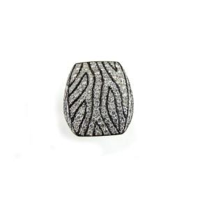 Diamond 2.75ct 14k White Gold Zebra Design Fancy Band Ring Size 10.75