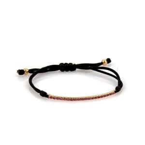 Tiffany & Co METRO Pink Sapphire 18k Rose Gold Long Bar Black Cord Bracelet