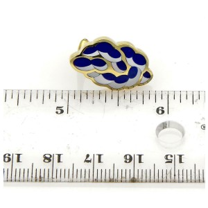 50742 Tiffany & Co. Lapis Mother of Pearl 18k Yellow Gold Fancy Post Clip Earrin