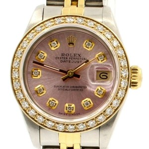 ROLEX Oyster Perpetual 18k & Steel Datejust 26mm Pink Dial Diamond Watch