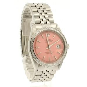 Men Vintage ROLEX Oyster Perpetual Datejust 36mm PINK Dial Diamond Bezel Watch