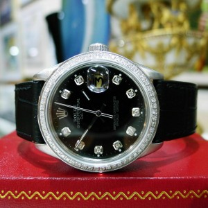 Mens Vintage ROLEX Oyster Perpetual Date 34mm Black Dial DIAMOND Bezel Watch