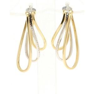 FINE ESTATE 14K YELLOW WHITE GOLD FREE FORM EARRINGS 6.8 GRAMS