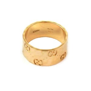 Gucci Logo 18k Yellow Gold 9mm Wide Hammered Style Band Ring Size 6