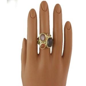 David Yurman Diamond & Gems Multi-Stone 18k Gold Cocktail Ring Size 7