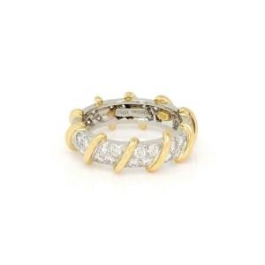 Tiffany & Co. 1.00ct Diamond Platinum 18k Yellow Gold Band Ring Size 5