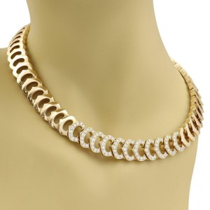 Cartier C Logo 2.75ct Diamond All Around C Link 18k Gold Necklace Paper