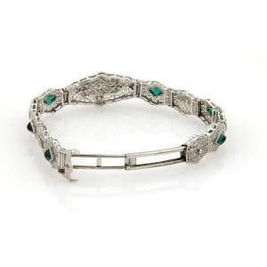 Art Deco Diamond Emerald 14k White Gold Filigree Fancy Link Bracelet