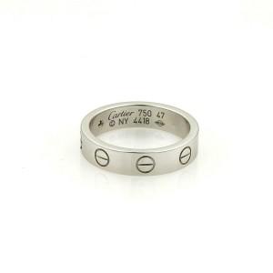 Cartier Mini Love 1 Diamond 18k White Gold 4mm Band Ring Size 47-US 4