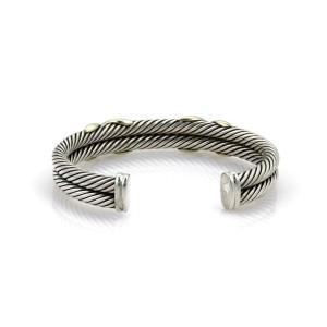 David Yurman X Design Sterling & 14k Yellow Gold Double Cable Cuff Bracelet