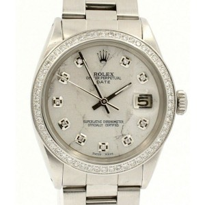 Mens ROLEX Oyster Perpetual Date 34mm White MARBLE  Dial Diamond Steel Watch