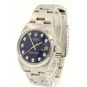 Mens Vintage ROLEX Oyster Perpetual Date 34mm Blue Dial Diamond Steel Watch
